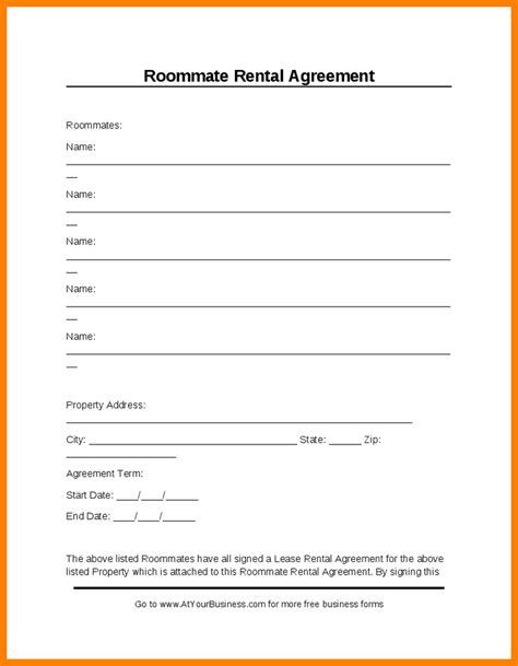 28 free room lease agreement template 5 room rental