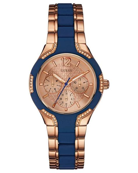 Guess W0149l5 Rosegold Blue guess s blue silicone and gold tone steel