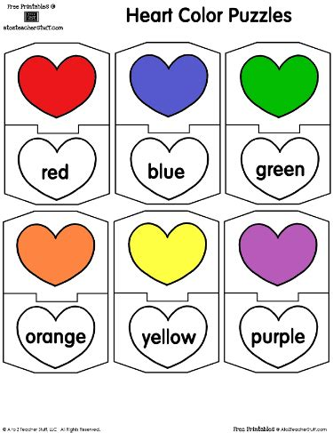 Colors And Color Word Match With Hearts A To Z Teacher The Match Free Printable Coloring Pages