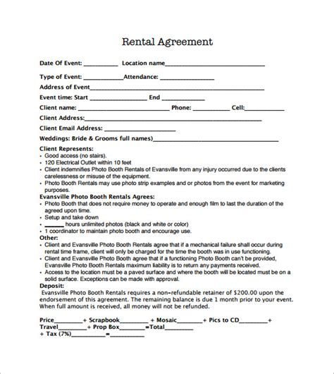 rental contract template sle booth rental agreement 9 documents in pdf
