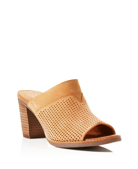 high heeled toms toms majorca perforated high heel slide sandals in