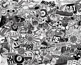 stickerbomb black white