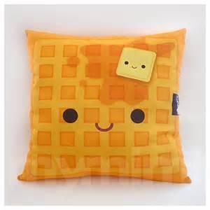 Kawaii Home Decor 16 X 16 Decorative Pillow Waffle Pillow Breakfast Food By