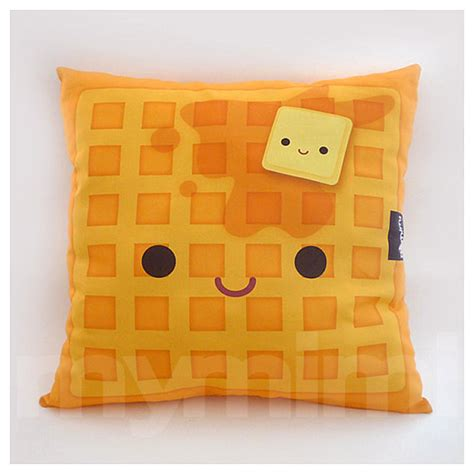 Kawaii Home Decor by 16 X 16 Decorative Pillow Waffle Pillow Breakfast Food By
