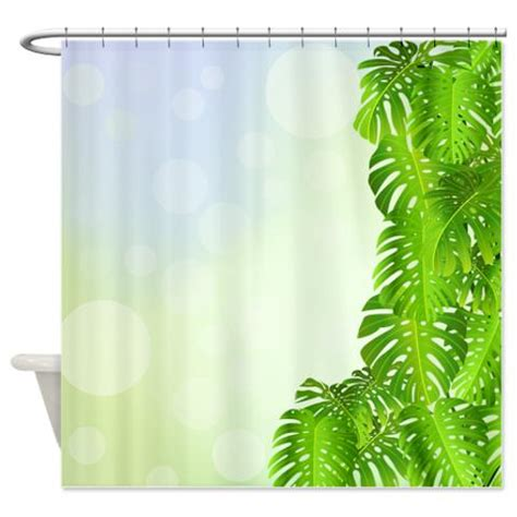 tropical themed shower curtains tropical monstera leaf border 1 shower curtain