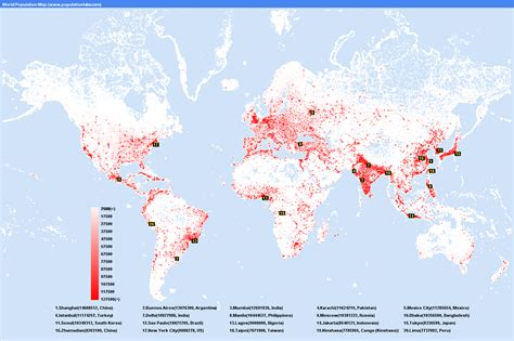 world map largest cities population distribution in the world san jose s corner
