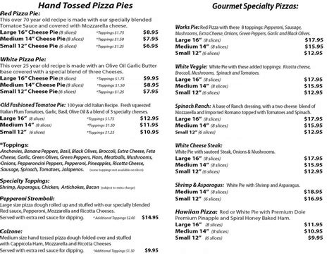 tj s pizza menu inside from tj s gourmet pizza in largo fl 33770
