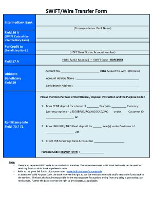 hdfc bank quickremit hdfc wire transfer fill printable fillable