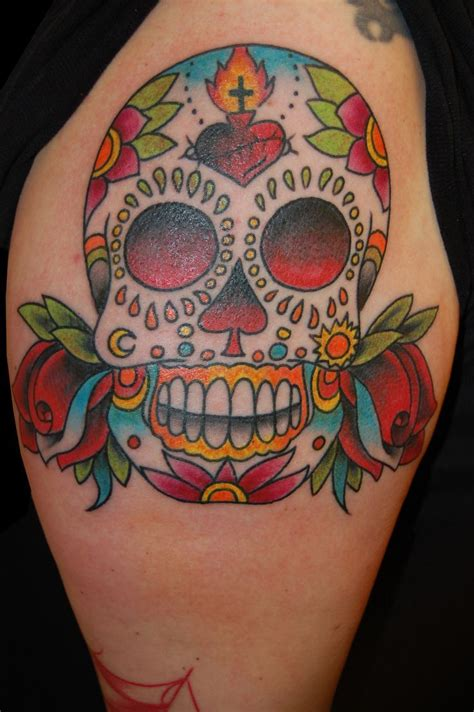 traditional mexican tattoos sugar skull traditional cerca con skull sugar