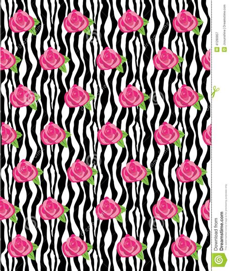 zebra pattern roses zebra rose pattern vector stock vector image 41280957