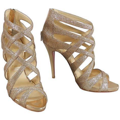gold gladiator sandals with heels christian louboutin balota gold glitter gladiator sandal