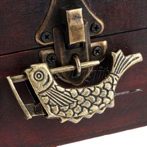 Antique Bronze Alloy Antique Chinese Old Wooden Box Lock Jewelry Chest Box Lock Padlock for