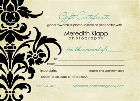 gift certificate template for photographers gift certificates available 187 meredith klapp photography