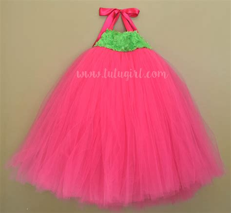 Dress Tutu Flower Green Pink bright pink and lime green flower tutu dress