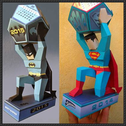 Papercraft Calendar - 2015 batman and superman calendar papercrafts free