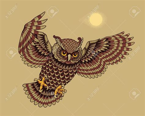 Flying Owl Tattoo Design | 28 flying owl tattoo designs