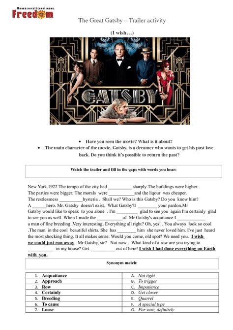 symbolism in the great gatsby worksheet the great gatsby worksheets