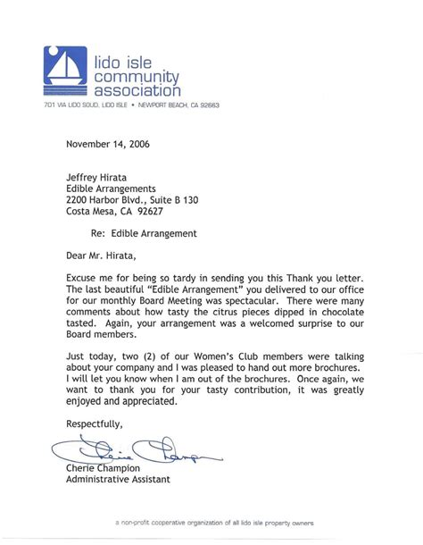 thanking letter for arranging thank you letter from lido isle community association yelp
