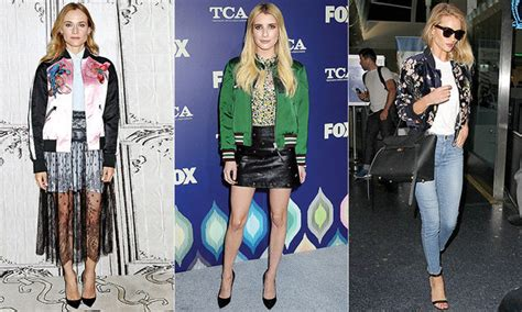 these celebrities are rocking the get the look varsity bomber