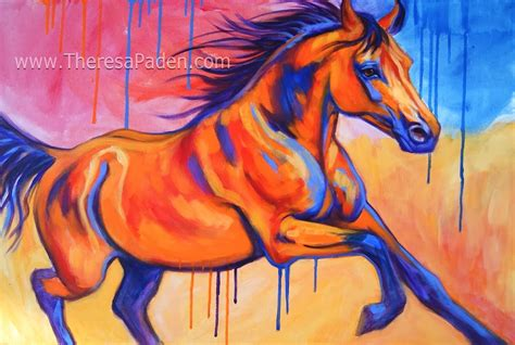 colorful horses abstract horses colorful painting by theresa paden
