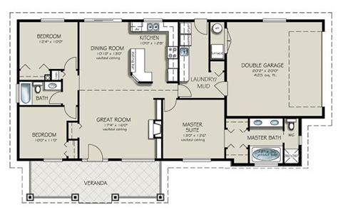 3 Bedrooms 2 Bathrooms House Plans by Ranch Style House Plan 3 Beds 2 Baths 1493 Sq Ft Plan 427 4