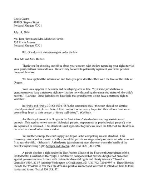 Letter Writing Sample for Grandparent Custody, Possession