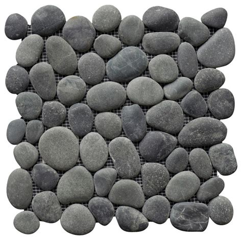 perfect pebble tile medan charcoal beach style wall and floor tile by island stone