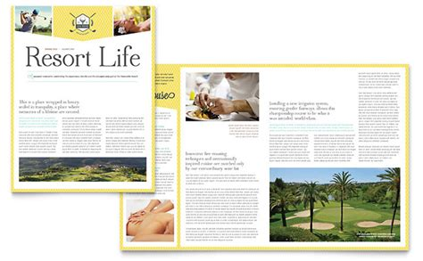 club newsletter templates golf resort newsletter template design