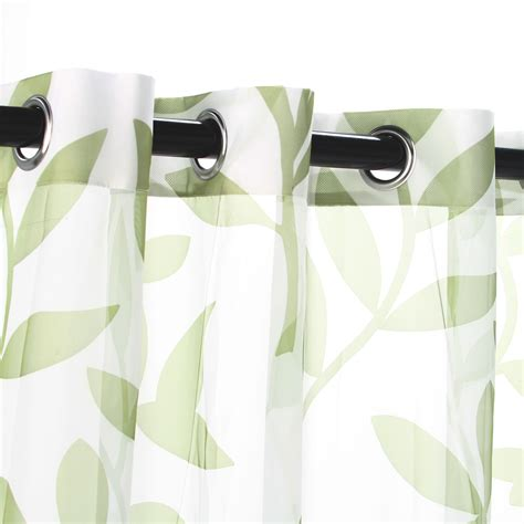 leaf pattern grommet curtains shop sheer green leaf outdoor curtains with grommets 54 x