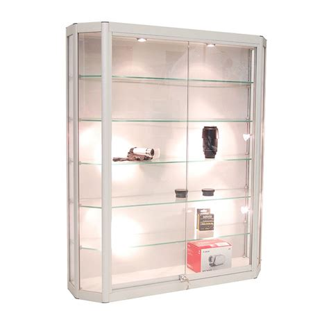 angled wall mounted display cabinet w tempered glass