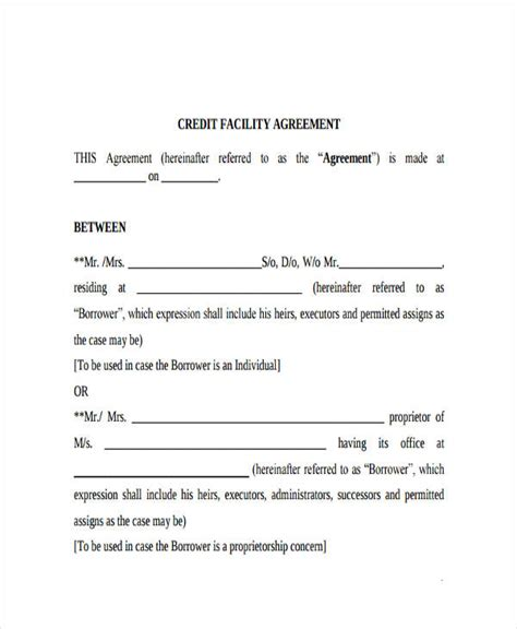 Credit Facility Format Loan Agreement Form Exle 65 Free Documents In Word Pdf