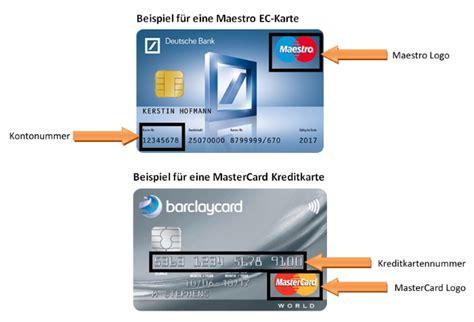 bank kredit karte maestro mastercard unterschiede und gemeinsamkeiten