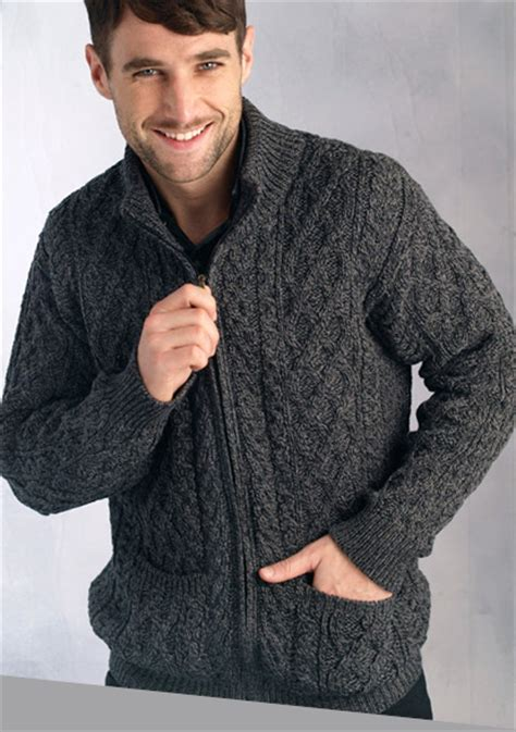 knitting pattern mens zip cardigan mens sweater wool zip cardigan charcoal ireland irish aran