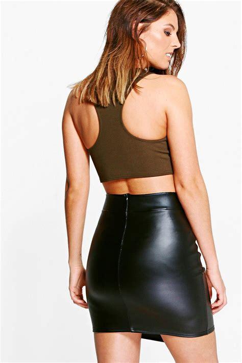 boohoo womens asha d ring leather look mini skirt ebay