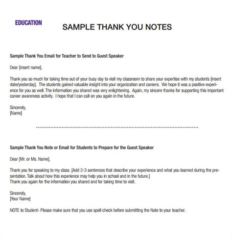sle professional thank you notes 8 documents in pdf word