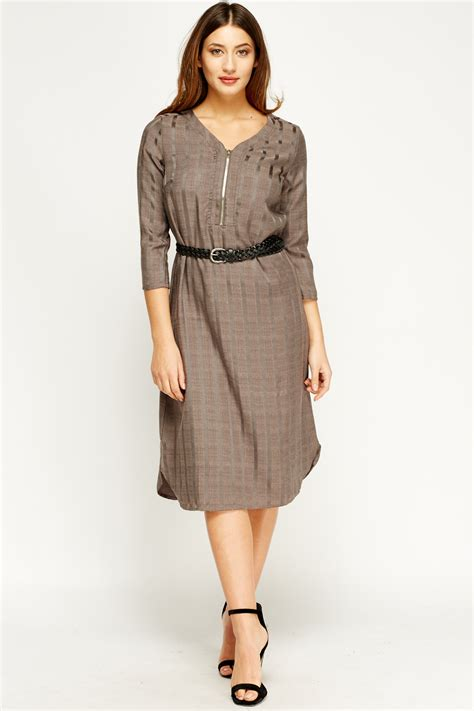 Front Tab Dress zip front checked midi dress just 163 5