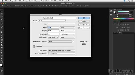 Creating A Document Tutorial Webucator - how to create your own document presets in photoshop from