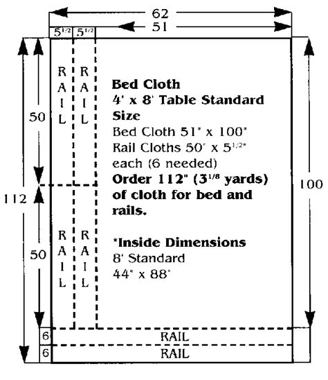 8 ft table dimensions billiard cloth cutting guide
