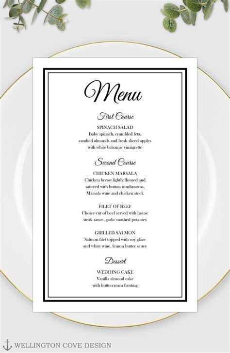 Printable Wedding Menu Template For Microsoft Word Elegant Black Script Rehearsal Dinner Menu Dinner Menu Template