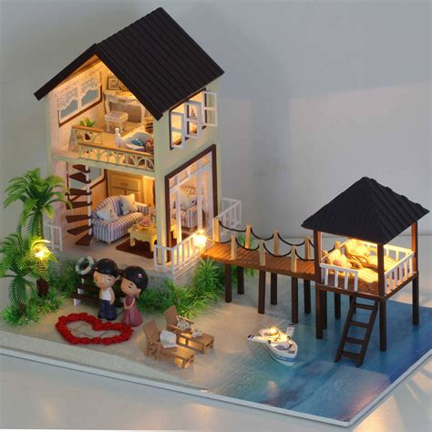 how to build a wooden doll house cuteroom diy handmade maldives wooden doll house led light