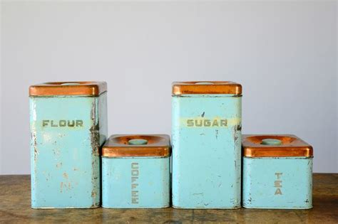 vintage turquoise metal kitchen canister set with by whitepicket vintage metal kitchen canister sets turquoise hot girls