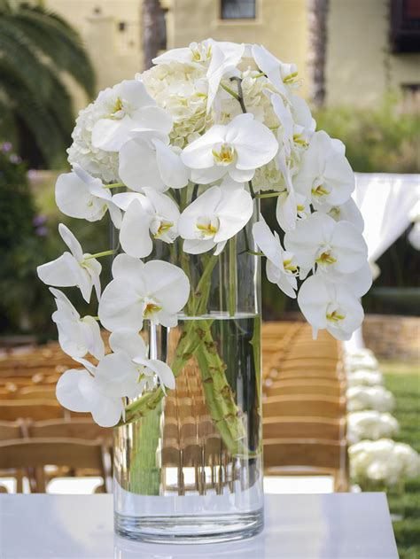 Cylinder Vase Arrangements by Ceremony Entrance Arrangement Orchids And Hydrangea Cylinder Vases Flower Box Flowers
