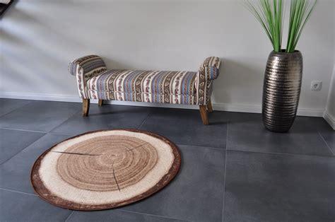design teppich rund holz baumstamm holzmuster 100 cm
