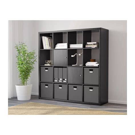 kallax shelving unit black brown 147x147 cm ikea