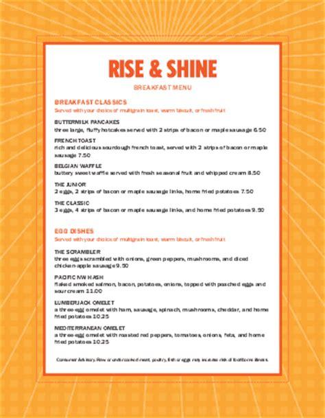 Sunrise Breakfast Menu Breakfast Menus Breakfast Menu Template Word
