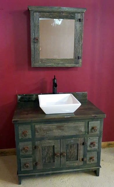 antique gray barnwood vessel vanity � barn wood furniture