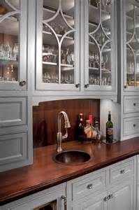 Bathroom Hanging Cabinets Wet Bar Wood Top Copper Sink Traditional Kitchen