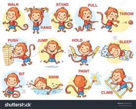 verbs pictures monkey character stock vector