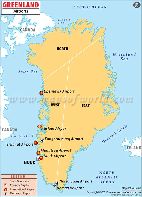 greenland map with cities airports in greenland greenland airports map