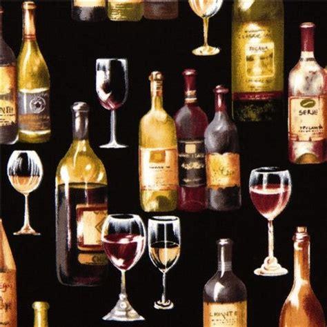 black designer fabric  wine bottle glass fabric